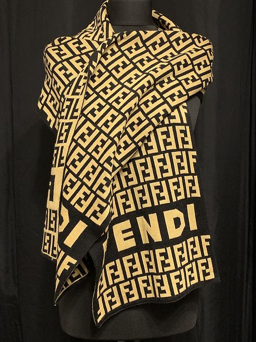 FENDI Knitted Monogrammed Scarf