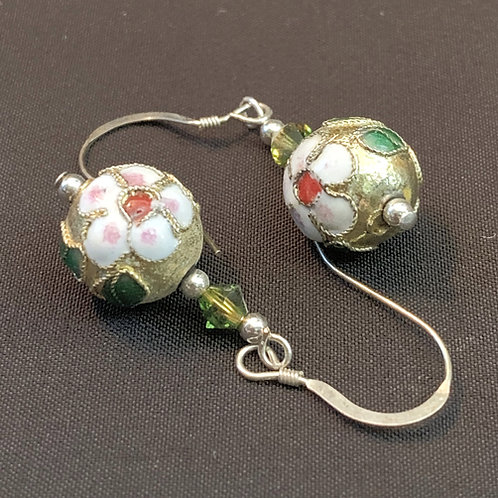 Gold Painted Chinese Cloisonné Bauble Drop Earrings