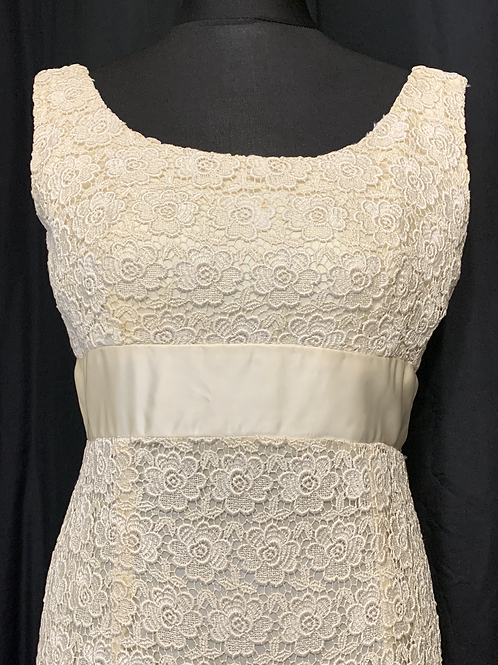 Blanes Lace & Satin 1960's Cream Wedding Dress