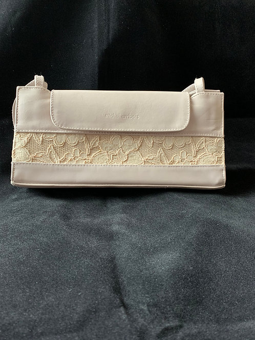 Michel Ambers Nude Leather & Lace Occasion Bag