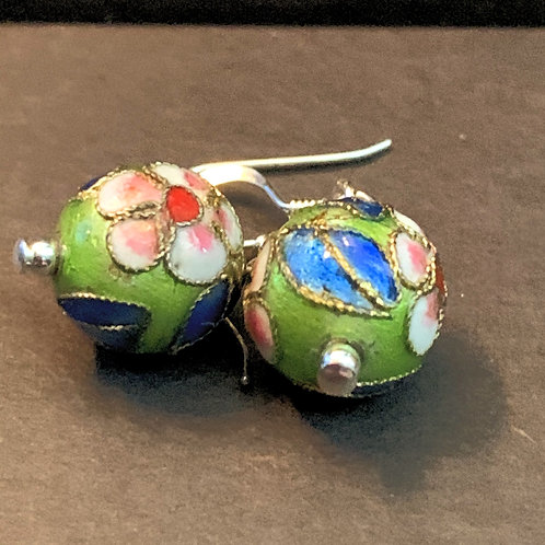 Green Painted Chinese Cloisonné Bauble Drop Earrings