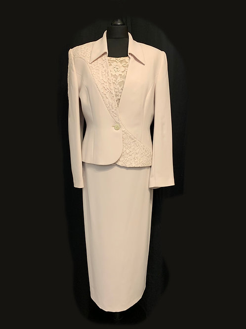 Mother of the Bride Michel Ambers Nude Lace detail 3-piece suit