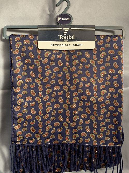 VINTAGE Tootal Blue Paisley Pattern Reversible Scarf