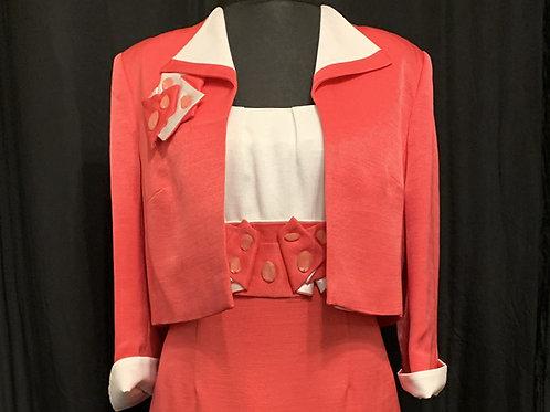 Gold Fuchsia & Ivory 50's style Dress Suit size 14