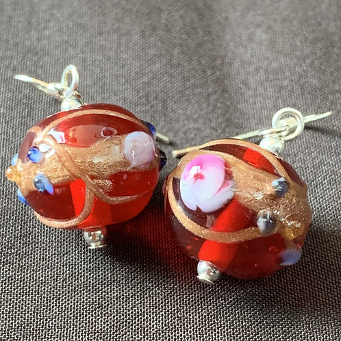 Red Venetian-style Coloured Glass Bauble Drop Earrings