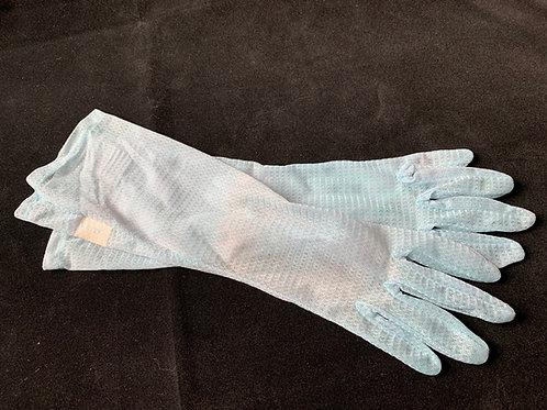 Sheer Baby Blue Evening Gloves circa 50's