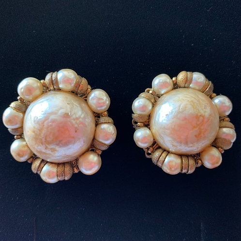 Miriam Haskell Faux Pearl & Brass Cluster Clip-on Earrings circa 30/40's
