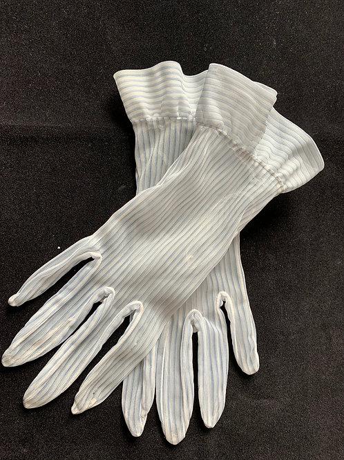 Sheer White & Blue Pinstripe Gloves circa 50's