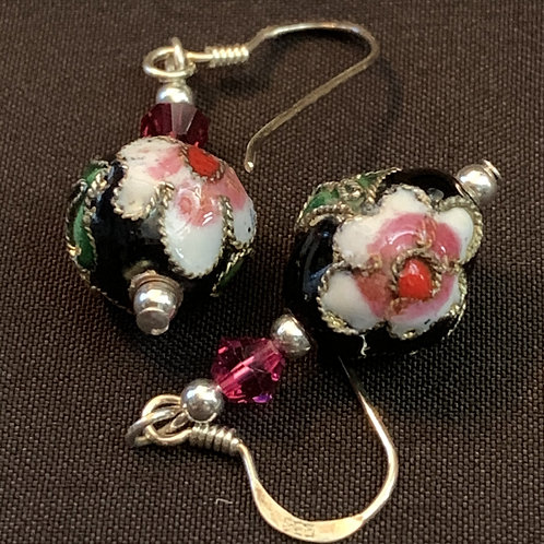 Black Painted Chinese Cloisonné Bauble Drop Earrings