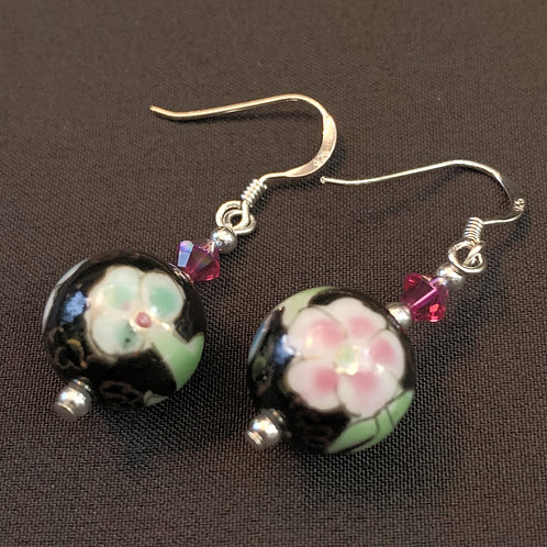 Black Painted Chinese Bauble Drop Earrings