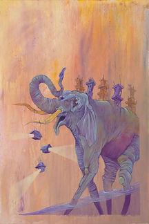 Elephant, Water, Light, Brigt Color, Buildings