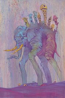 Water, Elephant, Bright Coler, Buildings, Long Legs