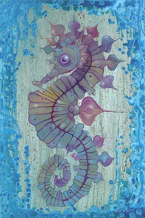 Sea Horse, Blue, Textile, Pattern, Aqua Visual Arts