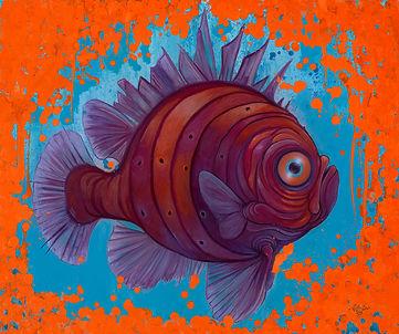 maine biology, orange, art, fish, illustration,