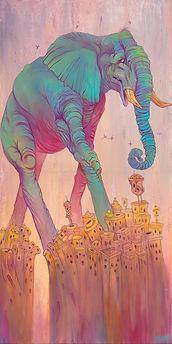 Elephant, Buildings, Walking, Bright Color