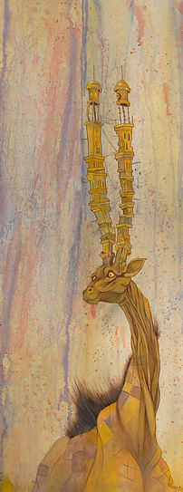 Acrylic on Birch Wood , Giraffes, Buildings, Visual Arts, Illustrations, aminals,