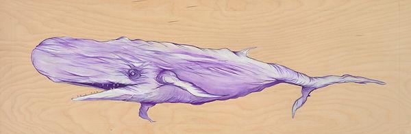 Acrylic on Birch Wood, Purple, natural wood, marine life, Organism