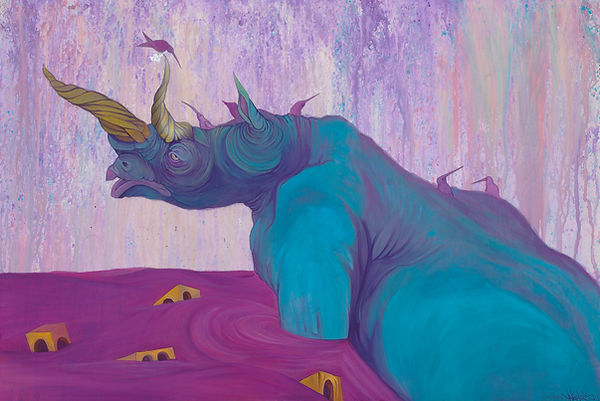 Rhino, Purple, Birds, Building, Blue, Animals, visual Art, Illustratons