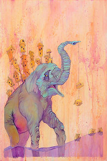Elephants, Buildings, Water, Houses, Bright Color