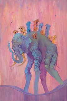Elephant, Buildings, bright color,