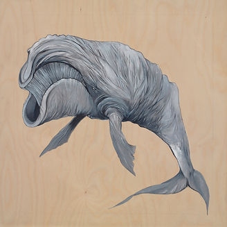 Acrylic on Birch Wood, black whale, natural wood, marine life, Organism