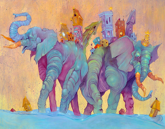 Elephants, Houses, Buildings, Bright Colors, Water