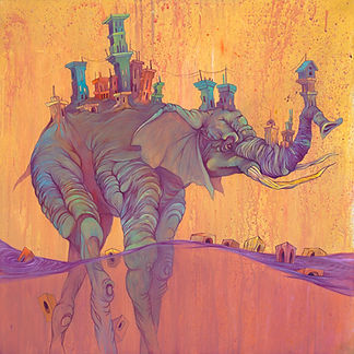 Elephat, Water, Bright Color, Buildngs