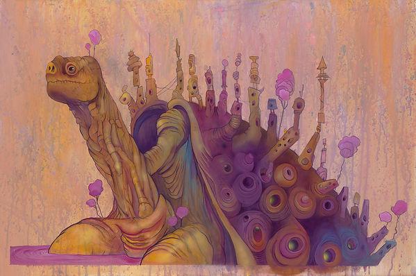Turtle, Animal, Illustrations, Buildings, Purple, Blue