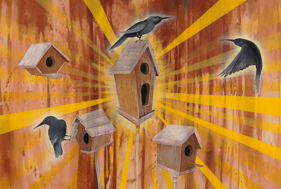 Acrylic on Birch Wood 3 piece, Birds, Animals, color