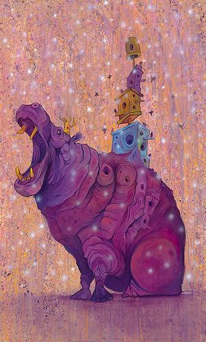 Hippo, Purple, Buildings, Visual Art, Illustrations