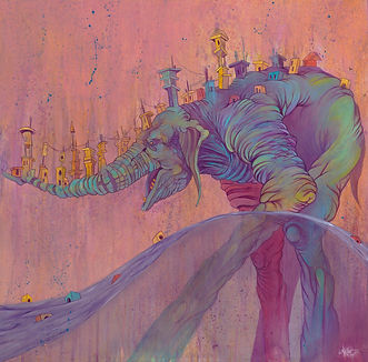 Elephant, Buildings, Anger, Bright Color, Water, Long legs
