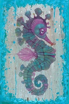 Sea Horse, Teal, Blue, Purple, Surealism