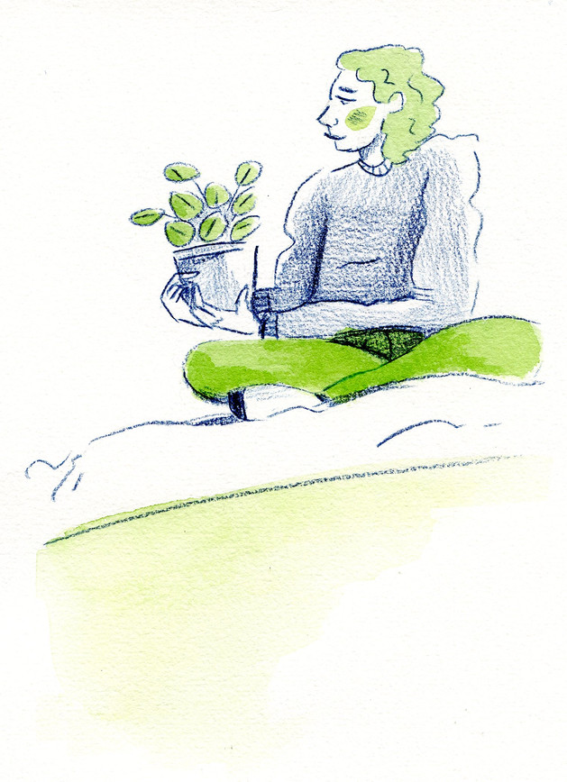 Woman and her plant