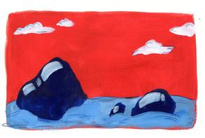 Blue Rocks in the Water
