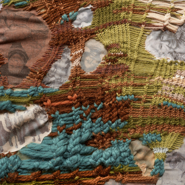 Superficie invertida Appropriation of Paracas ringed knitting  with dyed fabric interventions on printed tocuyo.  2017.  74 x 96 cm.