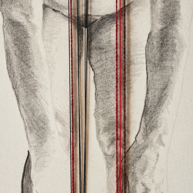 Con la sangre y el alma Appropriation of the Paracas ringed knitting on drawing. 2018. 100 x 70 cm.