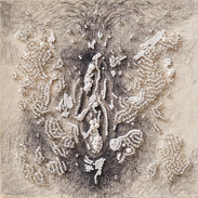 """El origeemm. From the project """"Clandestinas"""". Bead embroidery on drawing. 2020. 20 x 20cm."""