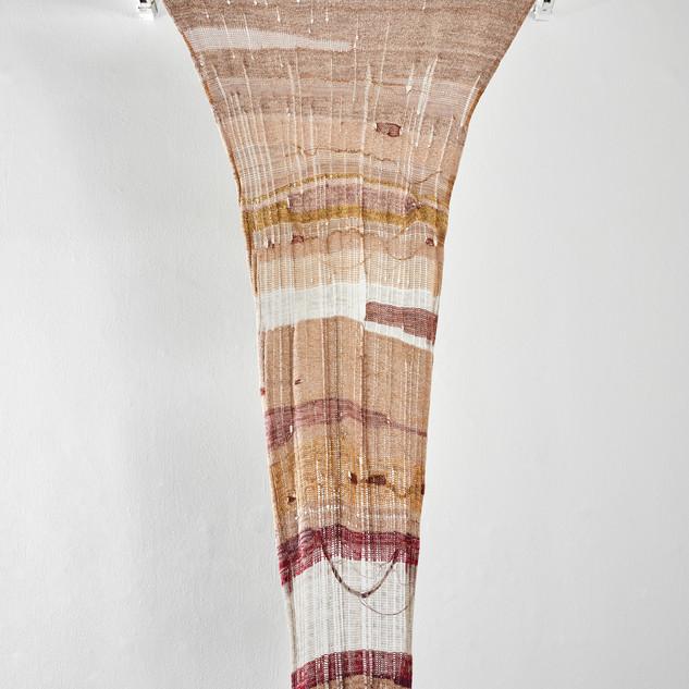 """En la garganta, la pena. From the project """"Clandestinas"""". Knitting and ceramic. 2019. Variable measures."""