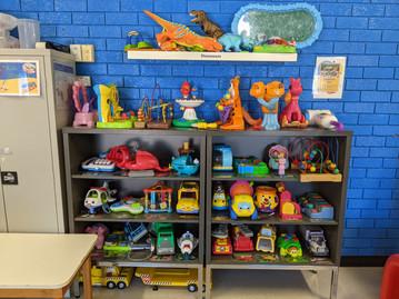 Inside toy shelves