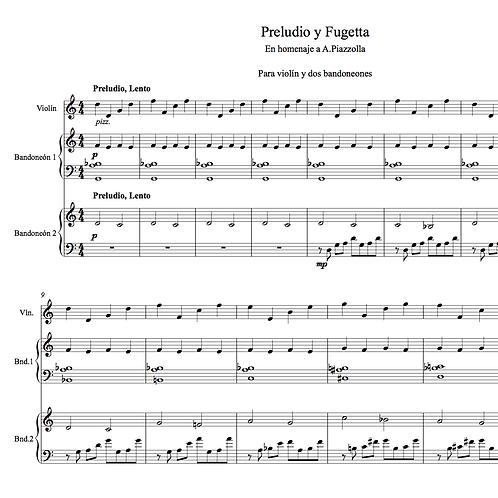 Hommage to Piazzolla - violin & 2 bandoneons (Preludio y fugeta)