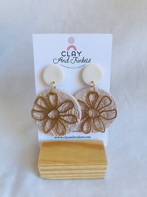 Flower Printed Hoops