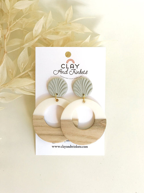 White Wooden Sage Hoops