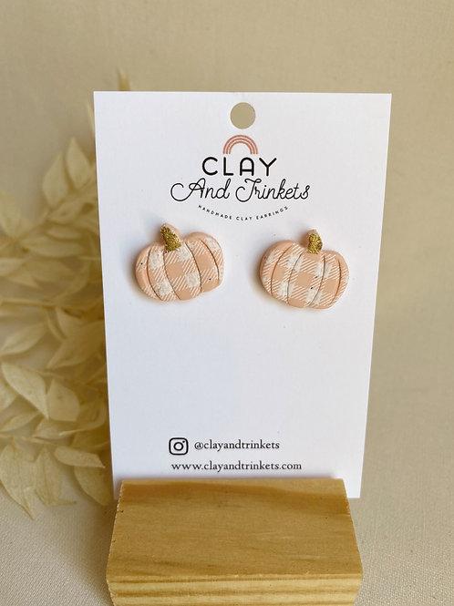 Gingham & Gold Pumpkin Studs