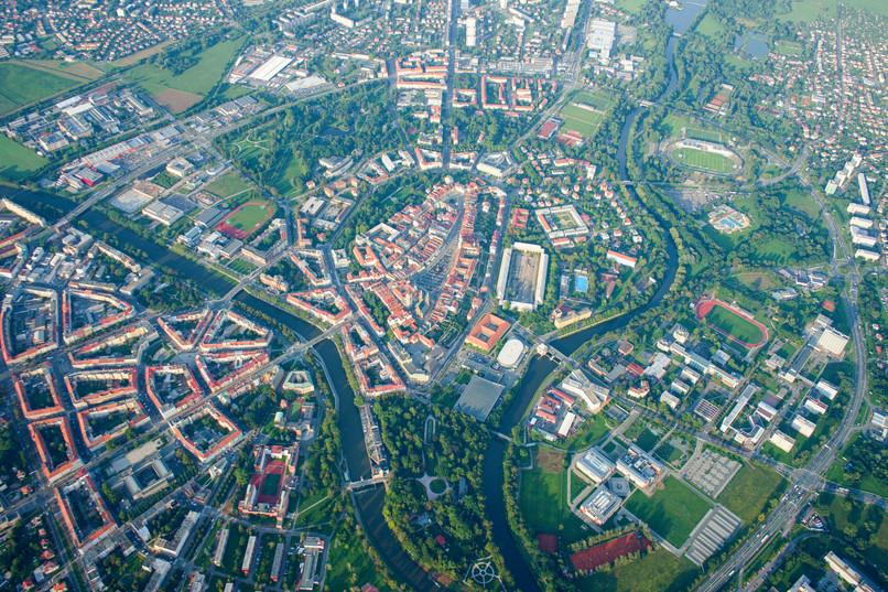 Hradec Králové z výšky 1500 m n.m.