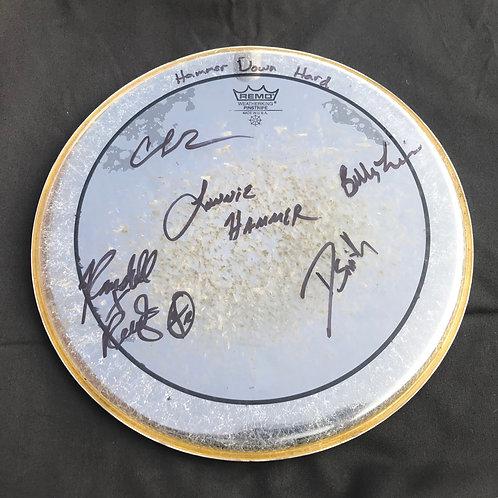 Autographed Hammer Down Hard drum head