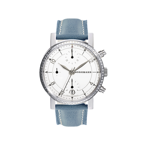 Borgward P100 Chronograph Medium Diamond Classic White
