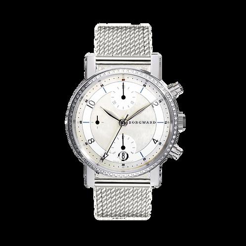 Borgward P100 Chronograph Medium Diamond Classic Perlmutt