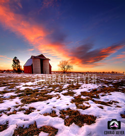 Old Red Barn at Sunrise