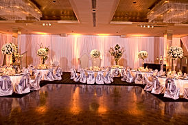 Beautiful ballroom decorated with flower