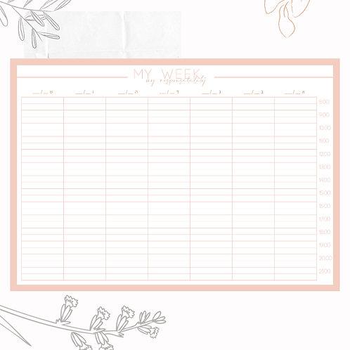 לוח תכנון שבועי ורוד- A4
